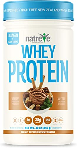 Natreve New Zealand Whey Isolate Protein Powder – Gluten Free Non-GMO Grass Fed Protein with Amino Acids Peanut Butter Brownie Parfait