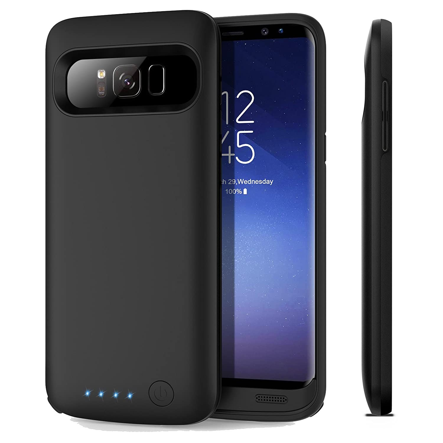 Galaxy S8 Battery Case, iPosible 6000mAh Rechargeable Portable Charging Case for Samsung Galaxy S8 (5.8inch 2017) Extended Battery Pack Fast Charge Power Case Cover(Quick Charge)-Black 4348688327