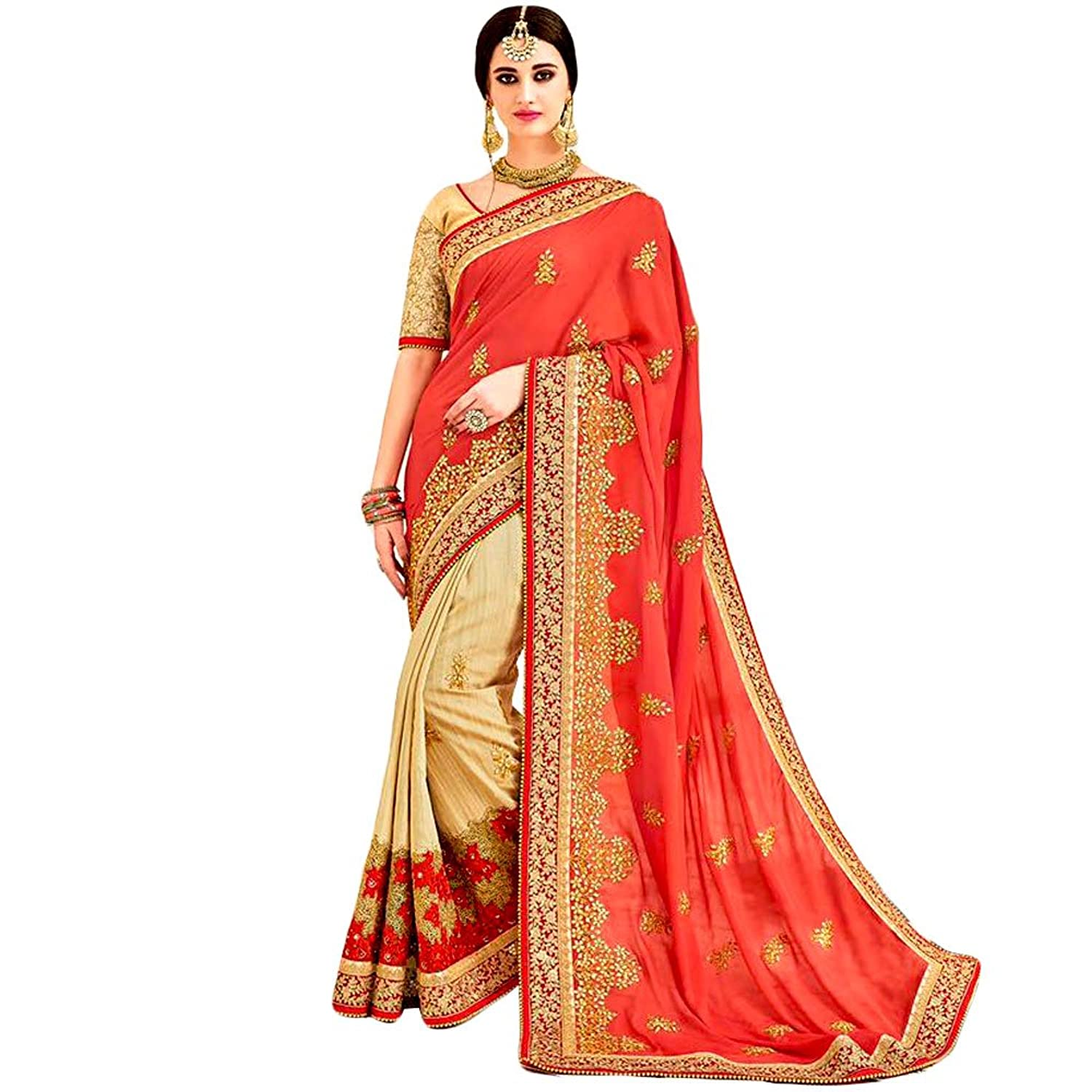 Shree Designer Sarees Women's Astounding Heavy Embroidered Light Red Designer Saree