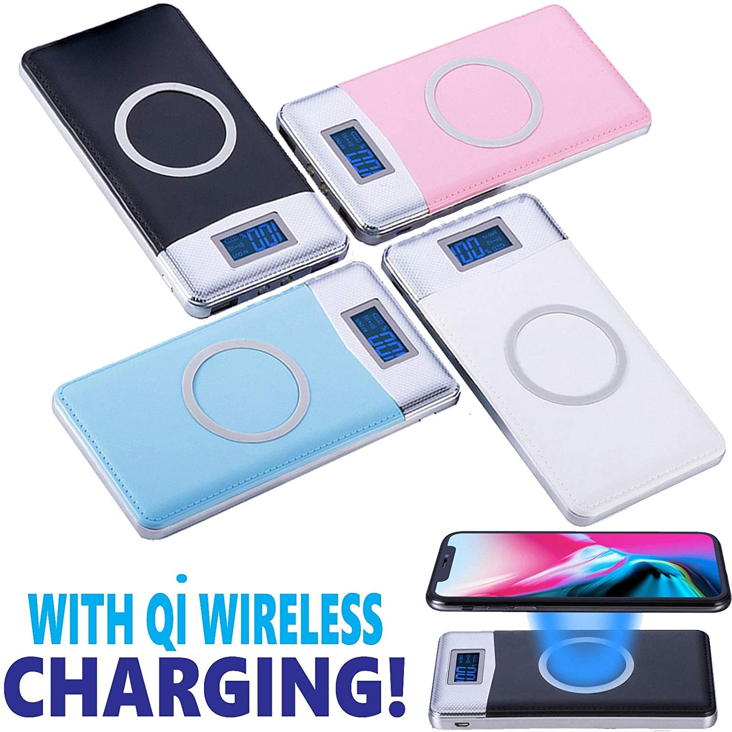 50000mAh Power Bank Qi Wireless Charging 2 USB LCD LED Portable Battery Charger (Black)