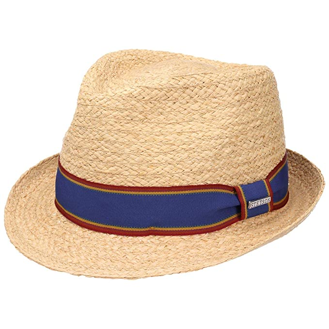25c04bc5ff27ef Stetson Salango Trilby Raffia Straw Hat Women/Men | Beach Summer with  Grosgrain Band Spring-Summer: Amazon.co.uk: Clothing