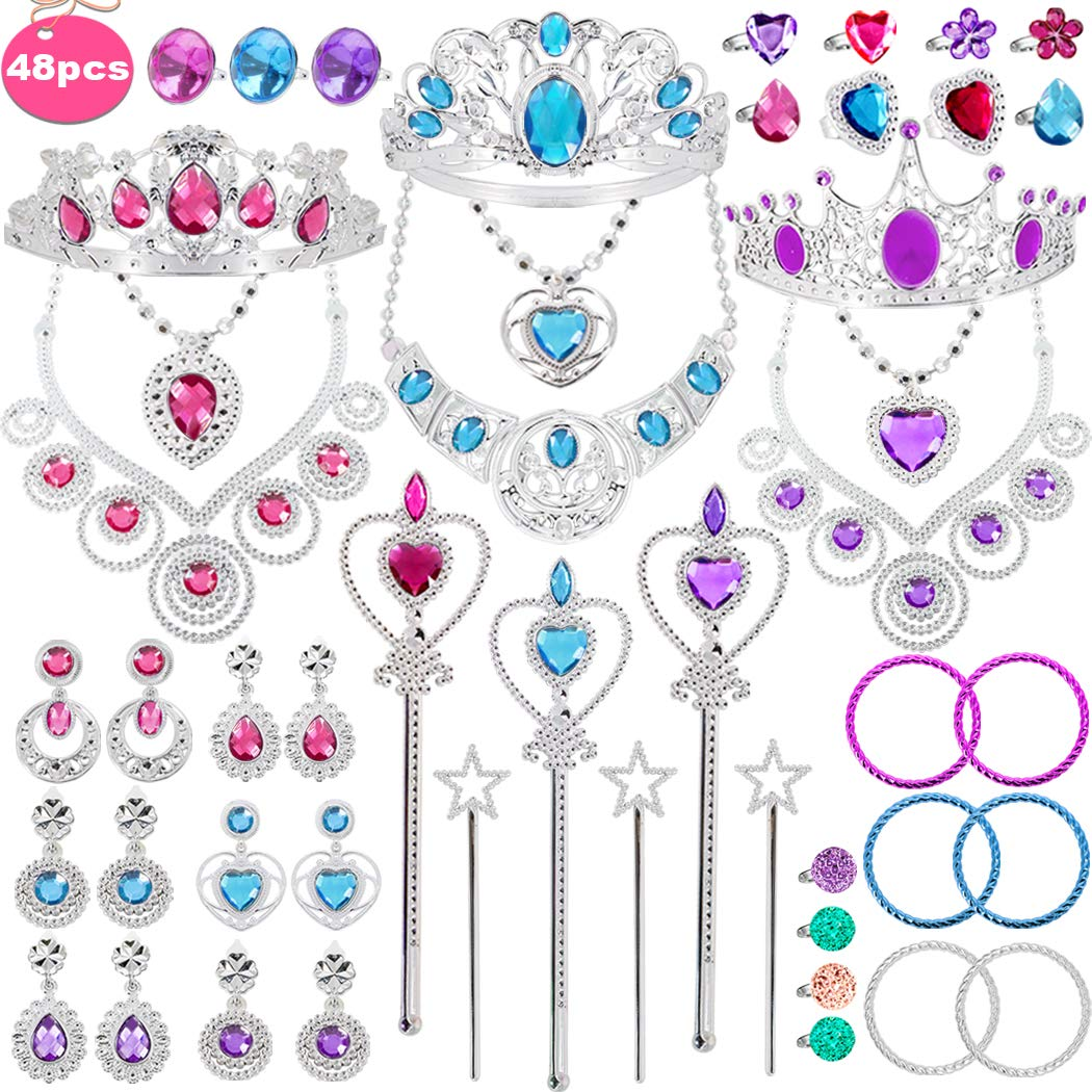 Tagitary 48 Pack Princess Pretend Jewelry Toy,Jewelry Dress Up Play Set for Girls Included Necklaces Wands Rings Earrings and Bracelets, Pretend Play Jewelry Set for Girls by Tagitary