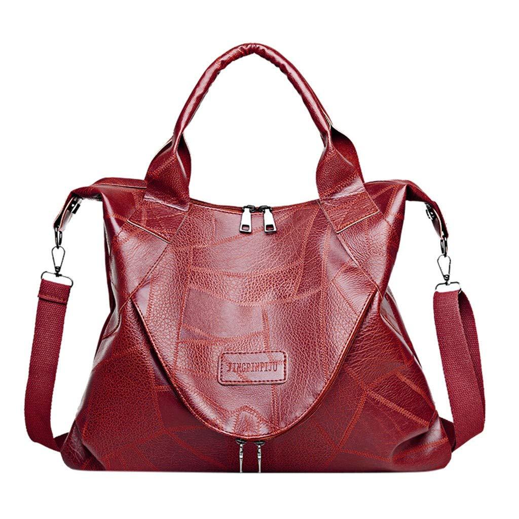 Caerling Damen Handtasche PU Leder Henkeltasche Top Griff Tasche Retro Weiches Große Kapazität Mode Umhängetasche Schultertasche (Rot)