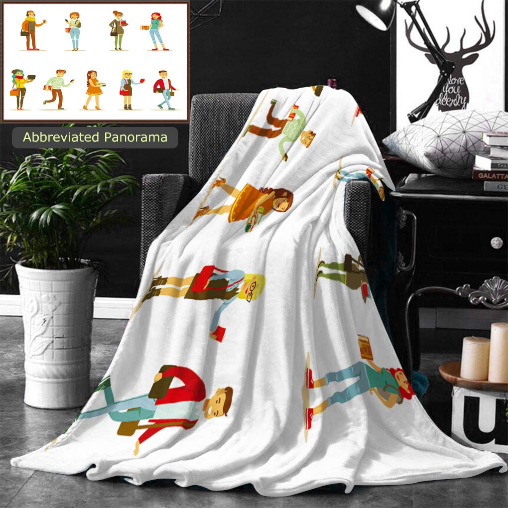 Unique Custom Double Sides Print Flannel Blankets University And College Students Street Fashion Looks Set With Young Men And Women With Super Soft Blanketry for Bed Couch, Twin Size 70 x 60 Inches