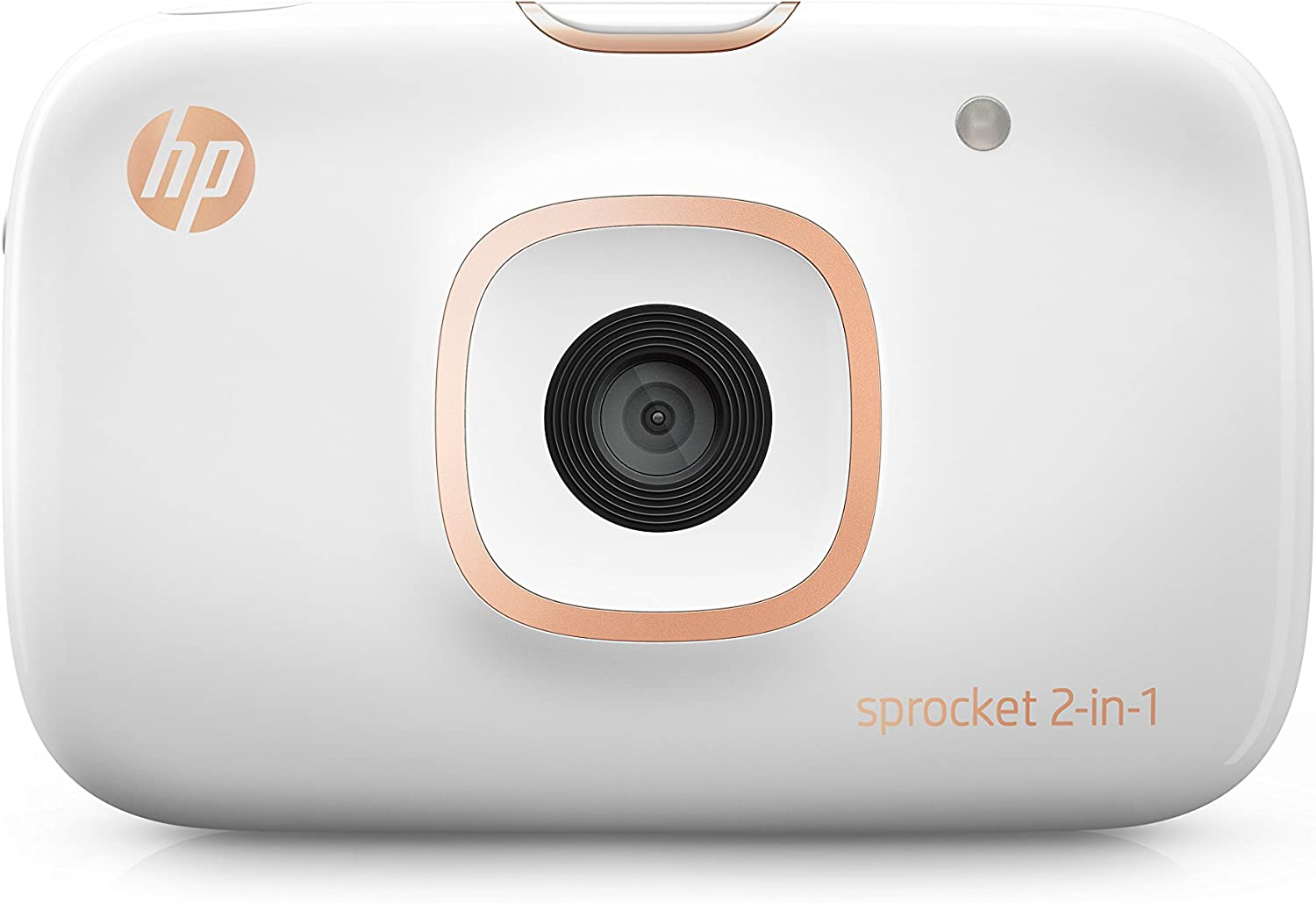 "HP Sprocket 2-in-1 Portable Photo Printer & Instant Camera, print social media photos on 2x3"" sticky-backed paper (2FB96A), 2:1 White, 4.8 x 3 x 1.1"