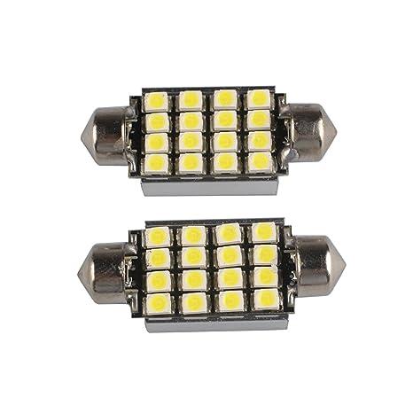 RunQiao® 2 x Blanco 16 SMD LED C5 W 239 272 guirnalda Bombilla No Error