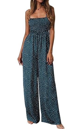 83b888008cd Asskdan Women's Spaghetti Strap Sleeveless Floral Print Wide Leg Long Pants  Jumpsuit Playsuit Romper
