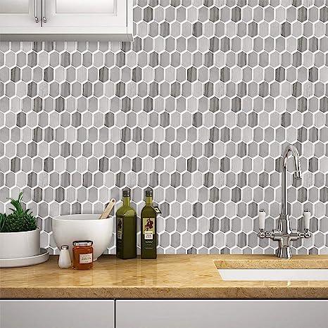 Amazon Com Tic Tac Tiles Premium Anti Mold Peel And Stick Wall Tile Backsplash In Honeycomb Design Mocha Arts Crafts Sewing