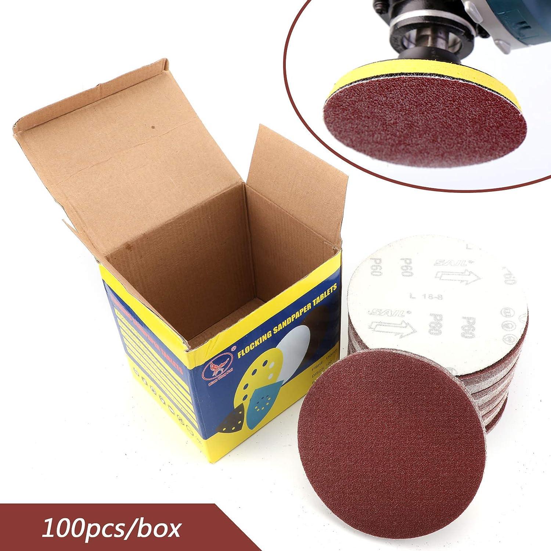 Topteng 100pcs Disque de Pon/çage 125mm Disques Abrasifs 400 Grain avec Exellent pour Poncer//Polir//D/érouiller