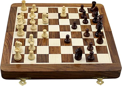 RoyaltyRoute Magnetic Chess Pieces Set with Wooden Board Travel Games (10 x 10-inches)