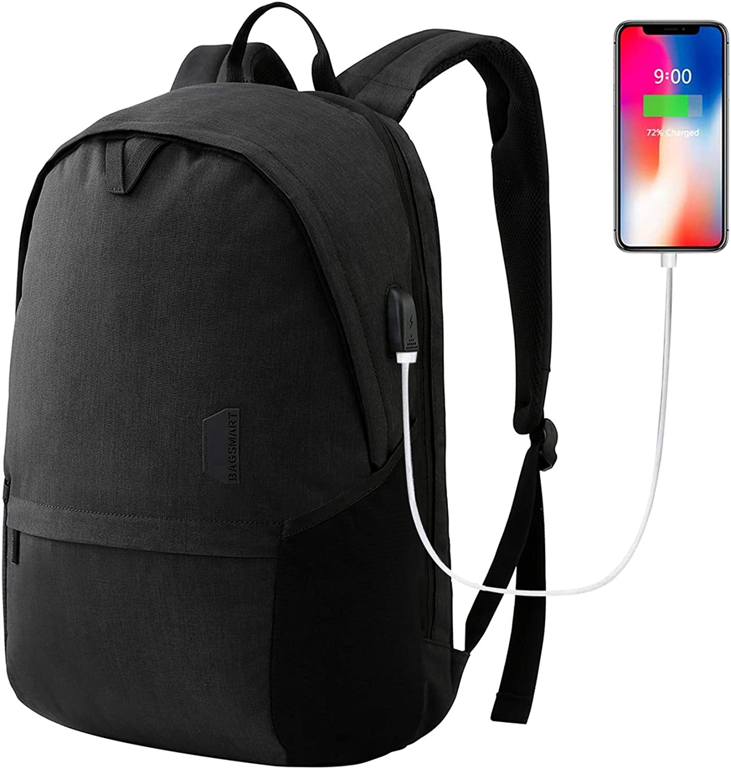 Laptop Backpack, BAGSMART 15.6 Travel Backpack for Women Men with USB Charging Port Durable Water Resistant Schlool Backpack