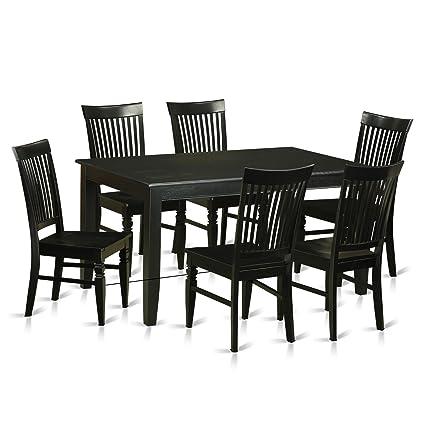 Amazon.com: East West Furniture DUWE7-BLK-W 7 Piece Small ...
