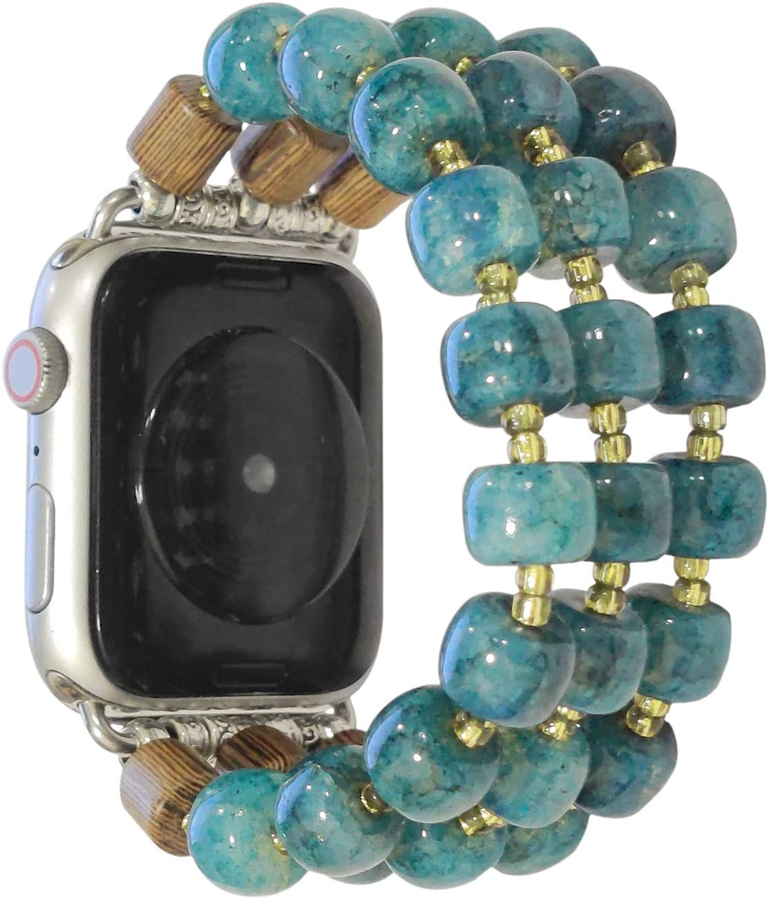 ZOOZOOT Smartwatch Band Compatiable for Apple Watch Band 38mm 40mm 42mm 44mm, Crystal and Wooden Beads Band for Series 6/5/4/3/2/1