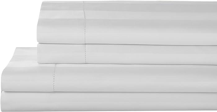 Elite Home Products T325 100% Pima Cotton Tuxedo Woven Stripe S/Set,Calking,White