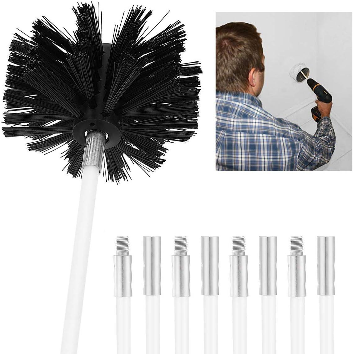 Conducto de la chimenea Barra de limpieza Barrido Barrido Juego de cepillos Conducto seco Kit de limpieza Eliminador de pelusas (1 cabeza del cepillo + 4 barras / Uso con o sin taladro eléctrico)