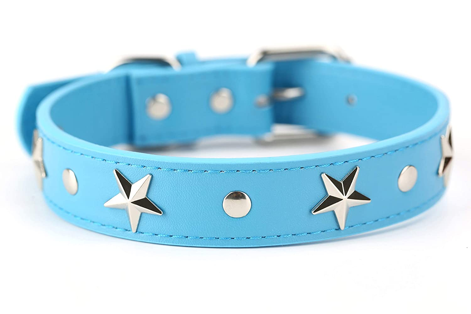 bluee Dog Size Medium bluee Dog Size Medium Mora Pets Leather Dog Collar for Small and Medium Dogs, Silver Star Studded Dog Collar (Medium, bluee)