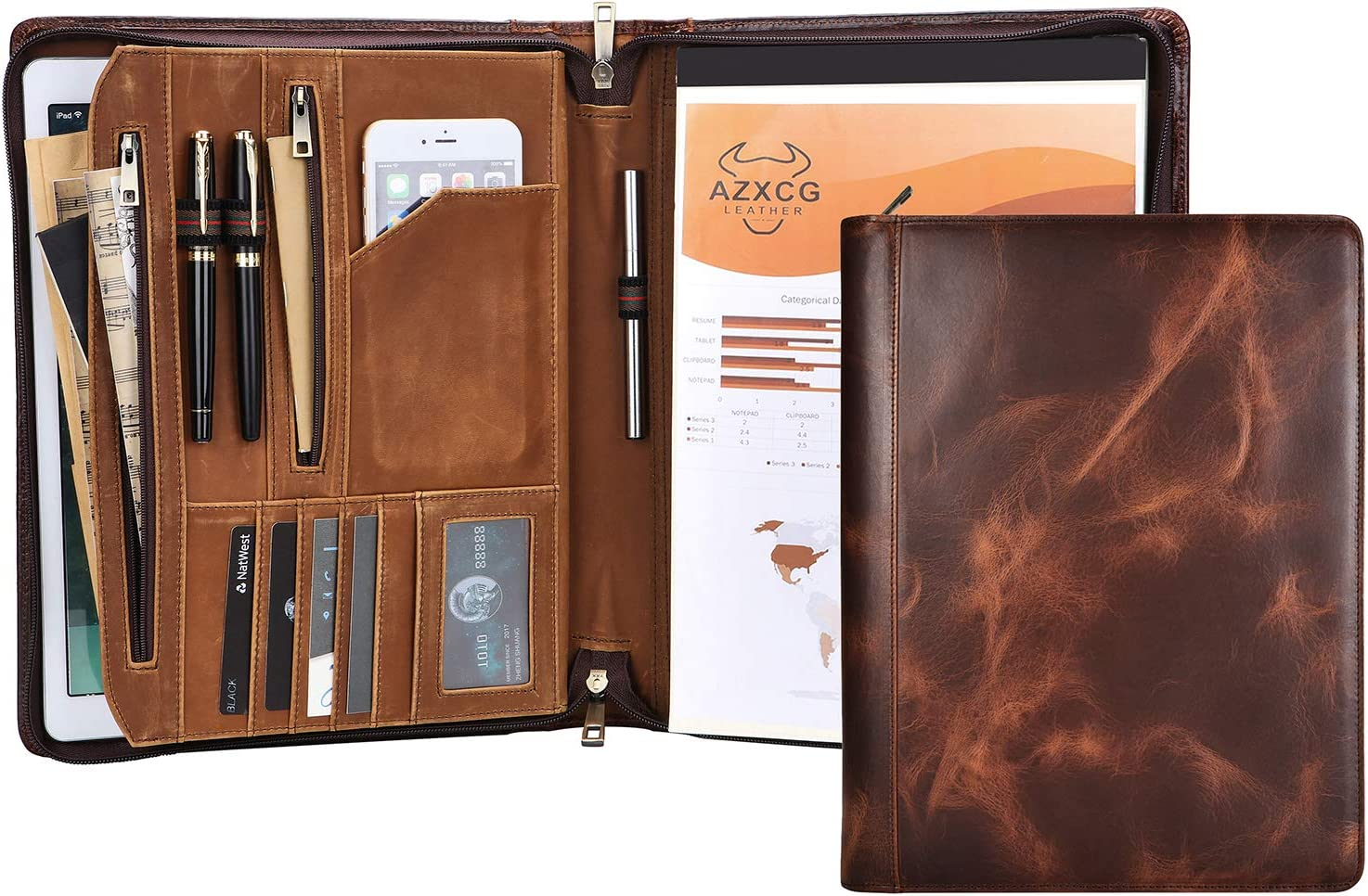 AZXCG Professional Leather Portfolio Padfolio, Zippered Business Organizer Tablet Folio Folder, for Business Men and Women (Non-Custom, Oil Tanned & Vintage Leather)