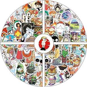 100PCS Miyazaki Hayao Animation Film Theme Anime Stickers, Studio Ghibli Stickers Spirited Away No Face Man My Neighbor Totoro Waterproof Laptop Stickers for Teens,Skateboard Stickers Luggage Decal