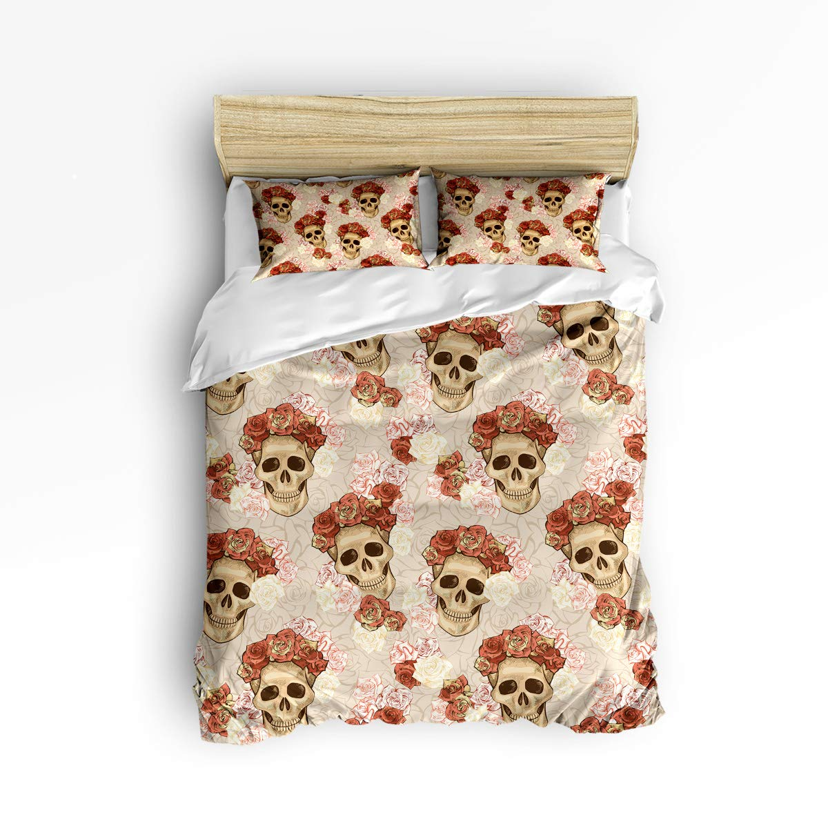 YEHO Art Gallery King Size Luxury 3 Piece Duvet Cover Sets for Boys Girls,Horror Halloween Pumpkin Crow Tombstone Design Adult Bedding Sets,Include 1 Comforter Cover with 2 Pillow Cases