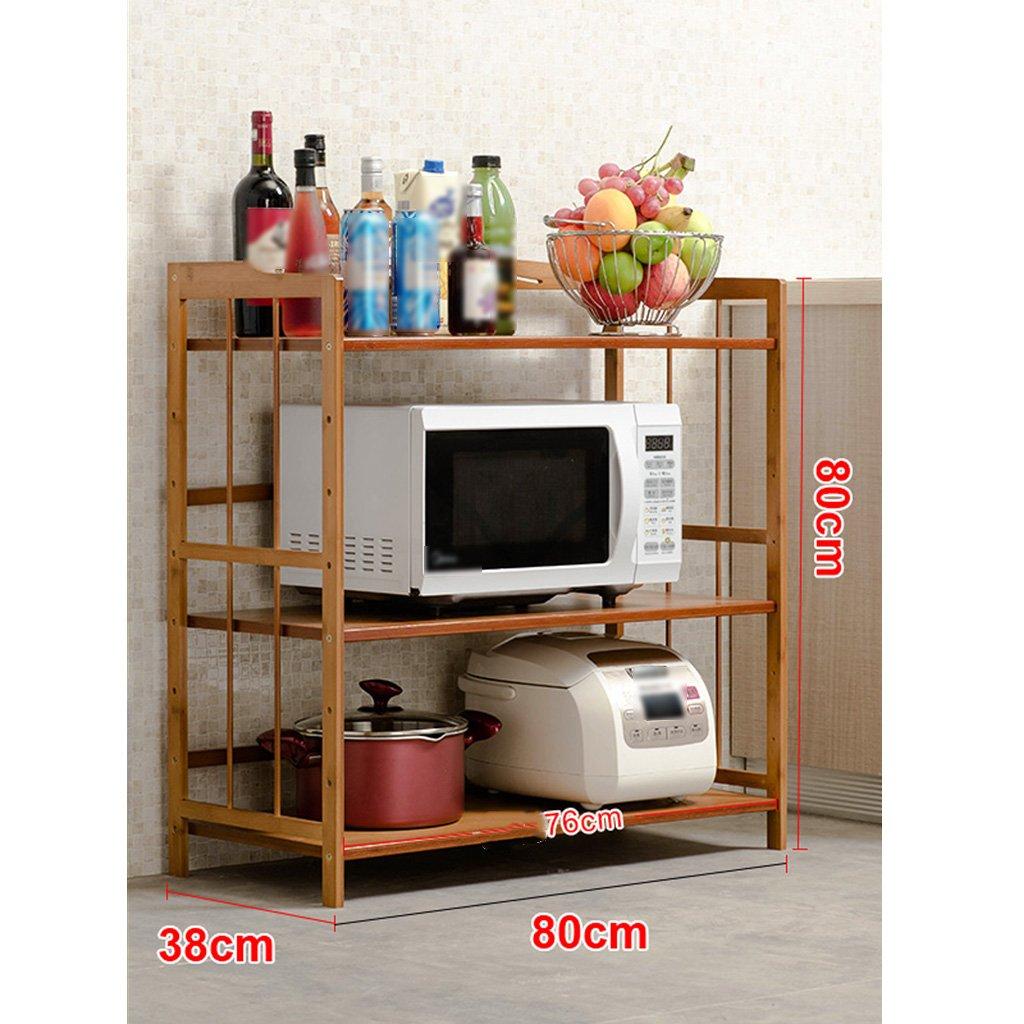 LXLA3,4階建て棚倉庫ポット棚電子レンジオーブンフレームフレーム立て多層木52/60/70/80×80/118×38cm (色 : 3 layers, サイズ さいず : 80cm) B07BGYS2DZ 80cm|3 layers 3 layers 80cm