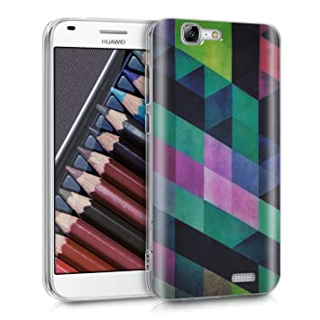 kwmobile Funda para Huawei Ascend G7 - Carcasa de TPU para móvil y diseño de Mosaico Triangular Rosa Fucsia/Menta
