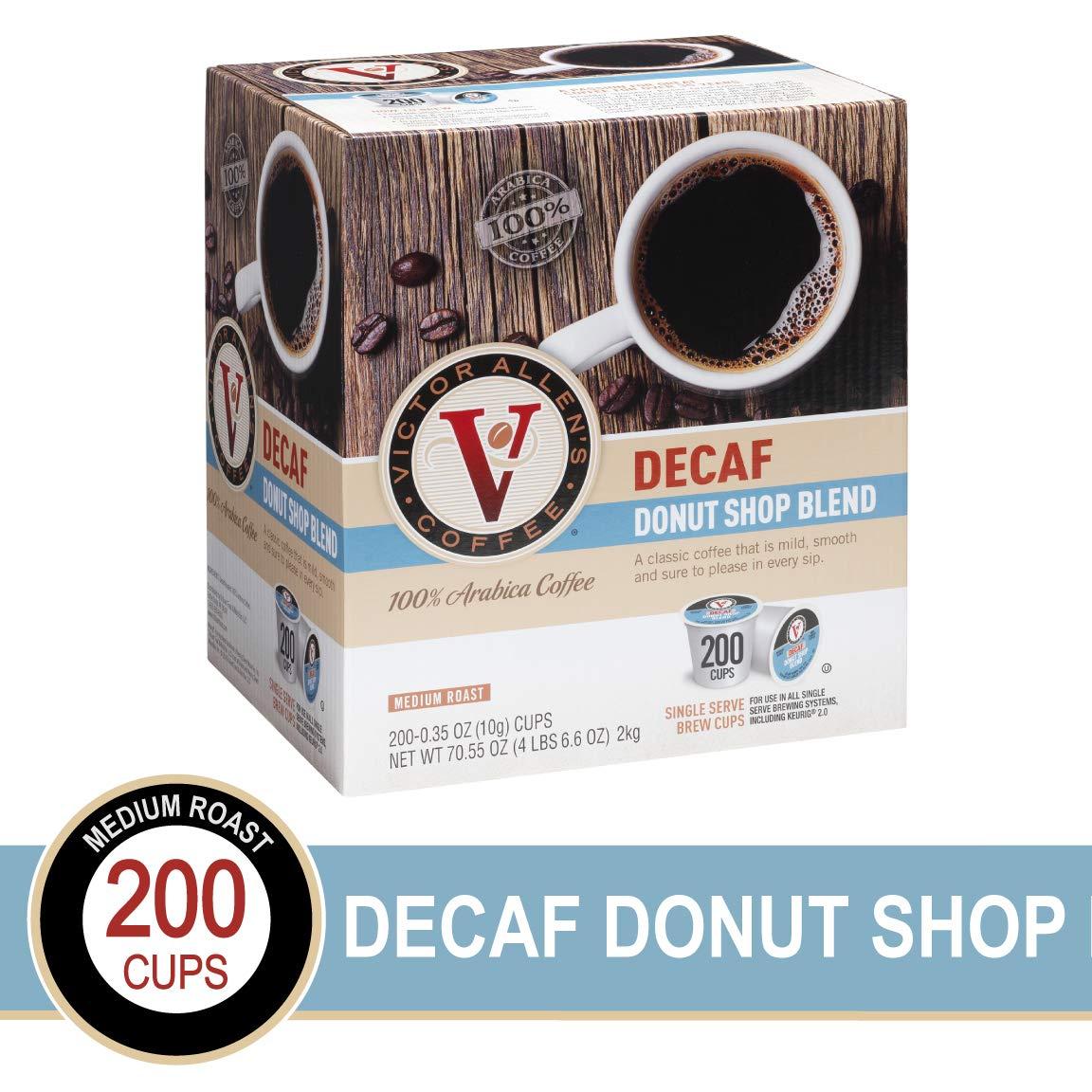 Deacf Donut Shop Blend for K-Cup Keurig 2.0 Brewers, 200 Count, Victor Allen's Coffee Medium Roast Single Serve Coffee Pods by Victor Allen