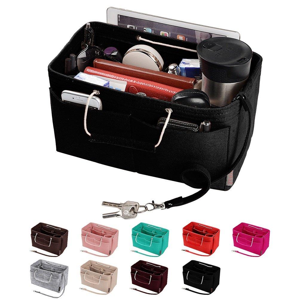 Purse Organizer, Multi-Pocket Felt Handbag Organizer, Purse Insert Organizer with Handles, Medium, Large (Medium, Black)