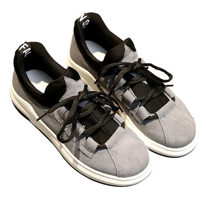 Shenn Damen Plattform Schnüren Laufen Beiläufig Wildleder Leder Sneaker Schuhe 2609X(Rot,EU36.5)