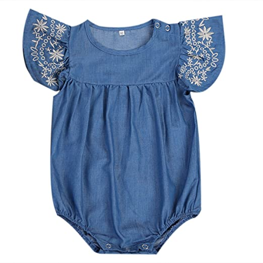 5df000e68f32 ITFABS Baby Girl Denim Romper Suit with Embroidered Ruffled Sleeves (70(0-6