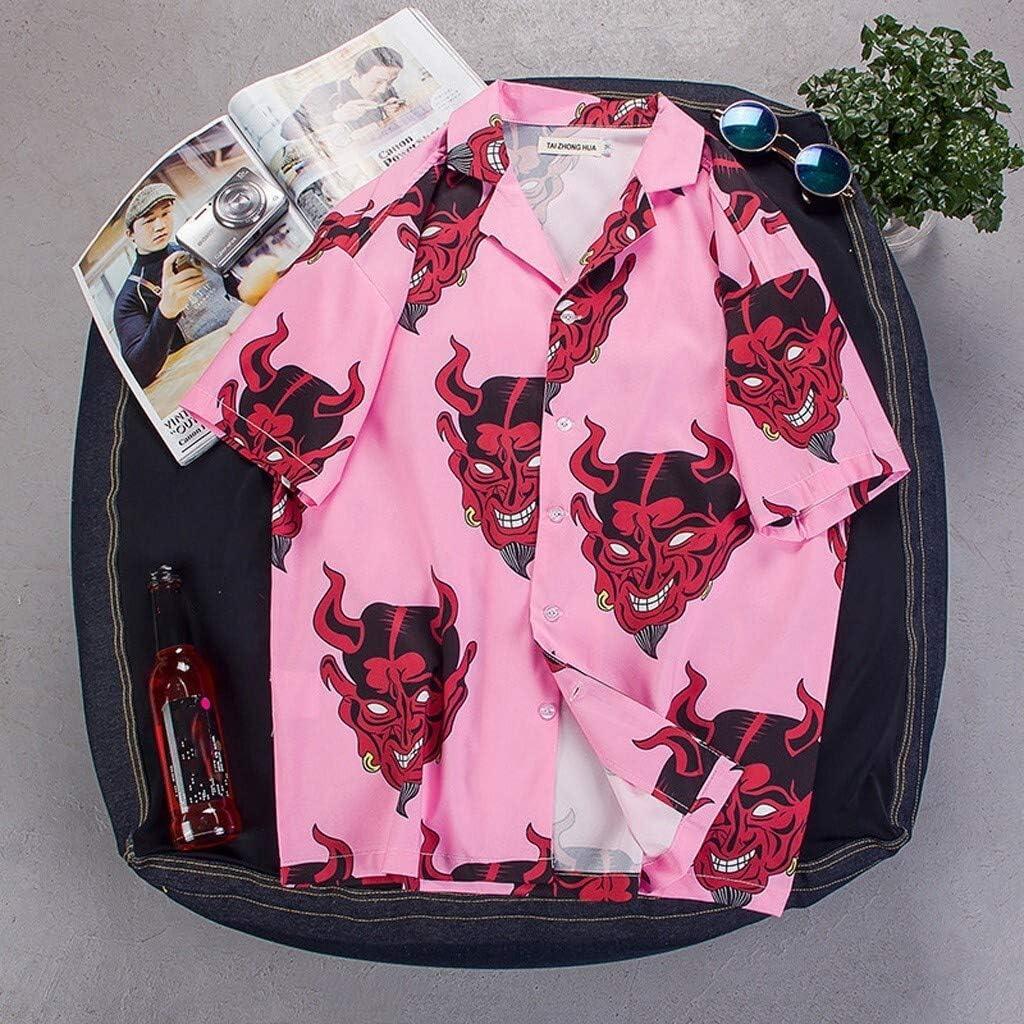 Color : Pink, Size : 4XL ERSHIWU Uomini Camicia Camisa Hombre del Tasto 3D Stampa Camicia a Maniche Corte Streetwear Devil Camicie hawaiane Shirt Uomo Estate Hip Hop Maschile Top