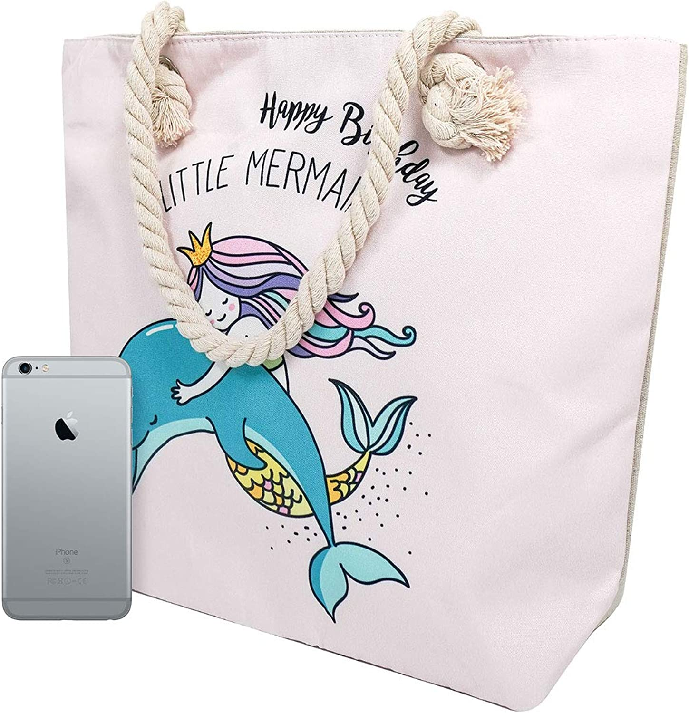 Large Beach Travel Canvas Tote Cute Shoulder Shopping Bag