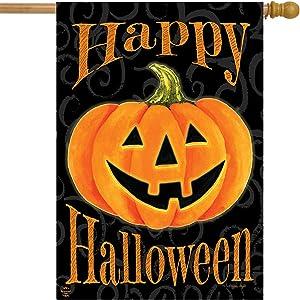 "Briarwood Lane Glowing Jack-O-Lantern Halloween House Flag Carved Pumpkin 28"" x 40"""