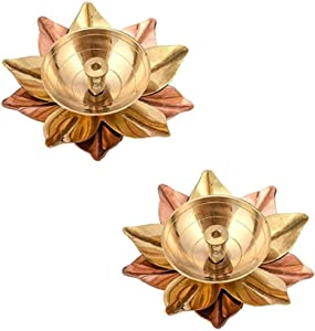 Kitty shops Brass Diya Small Lotus Shape Kamal Diya Oil Lamp for Diwali deepawali Copper Dia for Pooja Home Temple Puja Home Decor Gifts Temple mandir Set of 2
