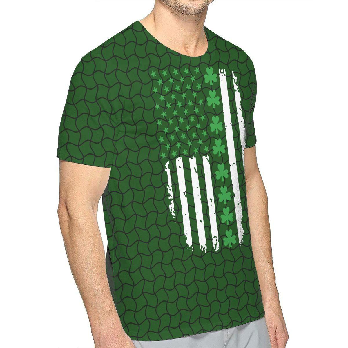 JJKKFG-H St Patricks Day Irish American Flag Mens Fashion Short-Sleeved T Shirt