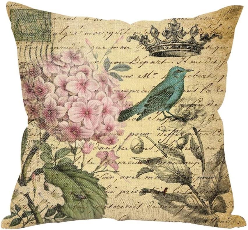 Amazon Com Vintage Flowers And Bird Throw Pillow Case Stamp Cushion Cover Pillowcase 18 18 Hidden Zipper Pillow Cover Home Kitchen