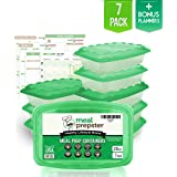 MEAL PREPSTER Meal Prep Containers (1-Compartment) - Reusable Microwavable BPA-Free - Plastic Food Safe Storage Container Lunch Boxes (28 OZ) (Clear / Green lid) + 5 Printable Planners! (7 pack)