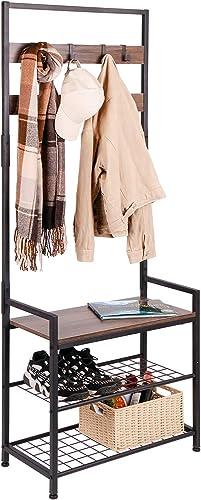 HOMEKOKO Coat Rack Shoe Bench