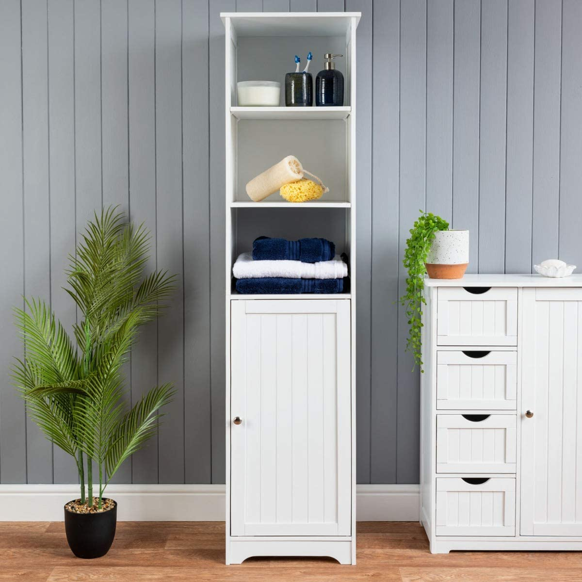 Christow Tall Bathroom Cabinet Wooden White Tallboy Unit 3 Shelf Storage Cupboard Amazon Co Uk Kitchen Home