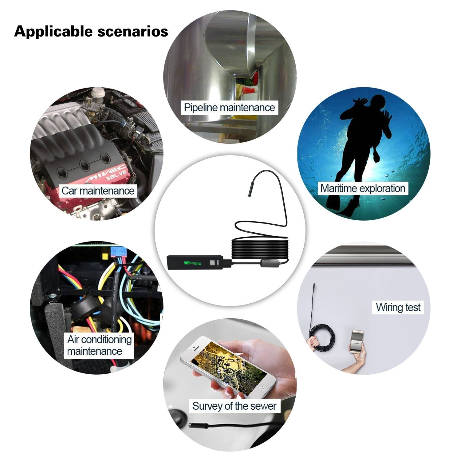 PDR Wireless Endoscope IP68, Waterproof Inspection wifi micro-Camera 2.0 Megapixels HD1200P Snake Camera with 8leds for Android and IOS Smartphone iPhone Samsung Tablet 5M//16.4ft