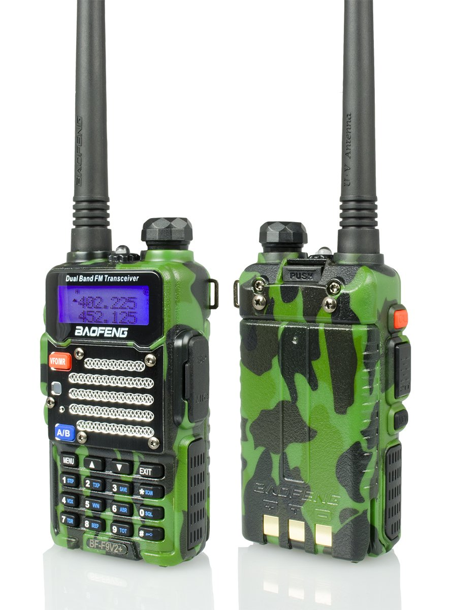Baofeng Green/Camo BF-F9 V2+ 8Watt Tri-Power (4/6/8w) (USA Warranty) Dual-Band 136-174/400-520 MHz FM Ham Two-way Radio Transceiver
