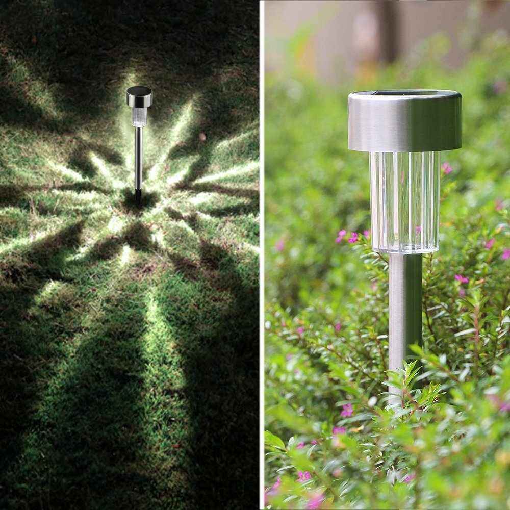 TUTU TECH Solar Light Outdoor [10 Pack] Landscape Path Lights, Solar Powered Pathway Light, Garden Outdoor, Stainless Steel Landscape Lighting for Lawn Patio Yard Walkway Driveway-Bright White by TUTU TECH (Image #5)