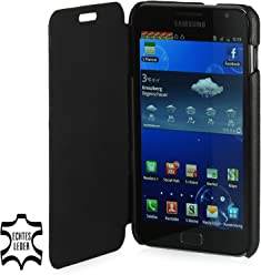 StilGut UltraSlim Case, custodia in vera pelle stile booklet per Samsung Galaxy Note (GT-N7000), nero