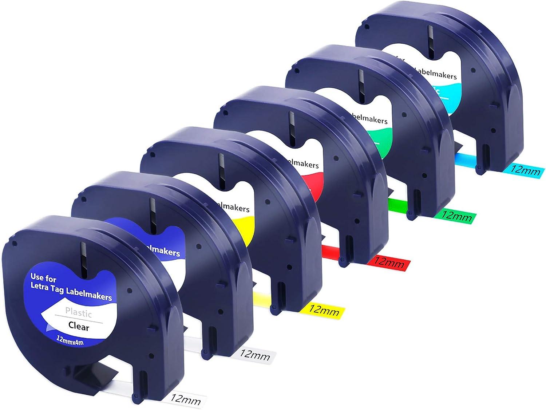 5PK Dymo Letra tag Refills Plastic 12mm Label Tape 91334 91331 91335 91332 91333