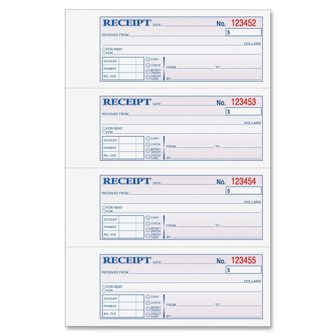 Amazon.com : Adams Money And Rent Receipt, 7.63 X 11 Inches, 2 Parts,  Carbonless, 4 Per Page, 200 Sets, White And Canary, (DC1182) : Receipt Book  : Office ...  Printable Receipt Book