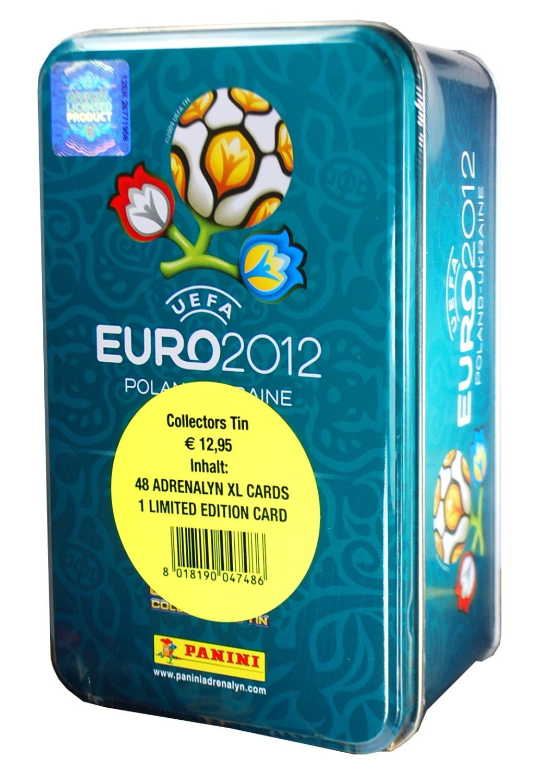 Panini 04748 Adrenalyn XL-Euro 2012 - Caja de cartas (incluye 8 sobres y 1 carta de edición limitada), diseño de Eurocopa 2012 Panini Euro Adrenalyn Tin EURO2012TIN