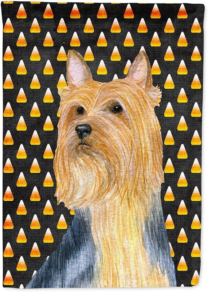 Caroline's Treasures LH9057GF Silky Terrier Candy Corn Halloween Portrait Flag Garden Size, Small, Multicolor