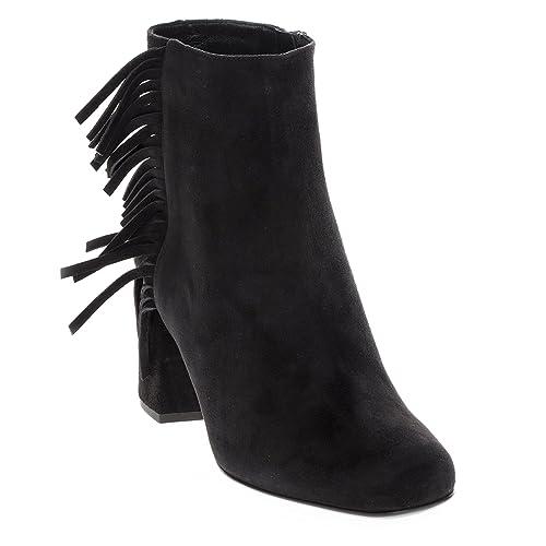 9bde479f81c Saint Laurent Women's 'Babies' Fringed Short Block-Heel Ankle Boot Suede  Black EU