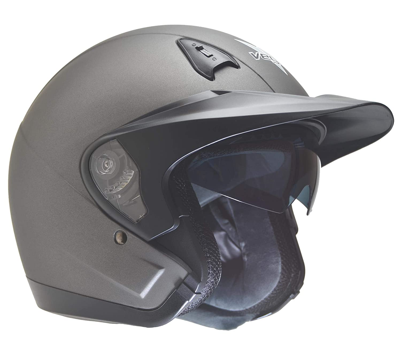 Vega Helmets Unisex-Adult Open Face Helmet Matte Titanium X-Large