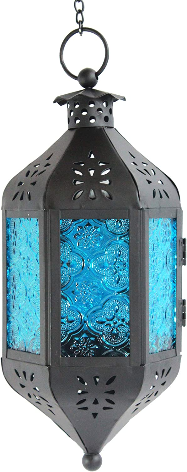 Vela Lanterns Hanging Moroccan Style Candle Lantern with Chain, Blue