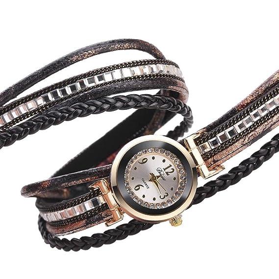 Belleza Top Mujeres Fine pulsera de piel de bobina analógica movimiento cuarzo reloj de pulsera